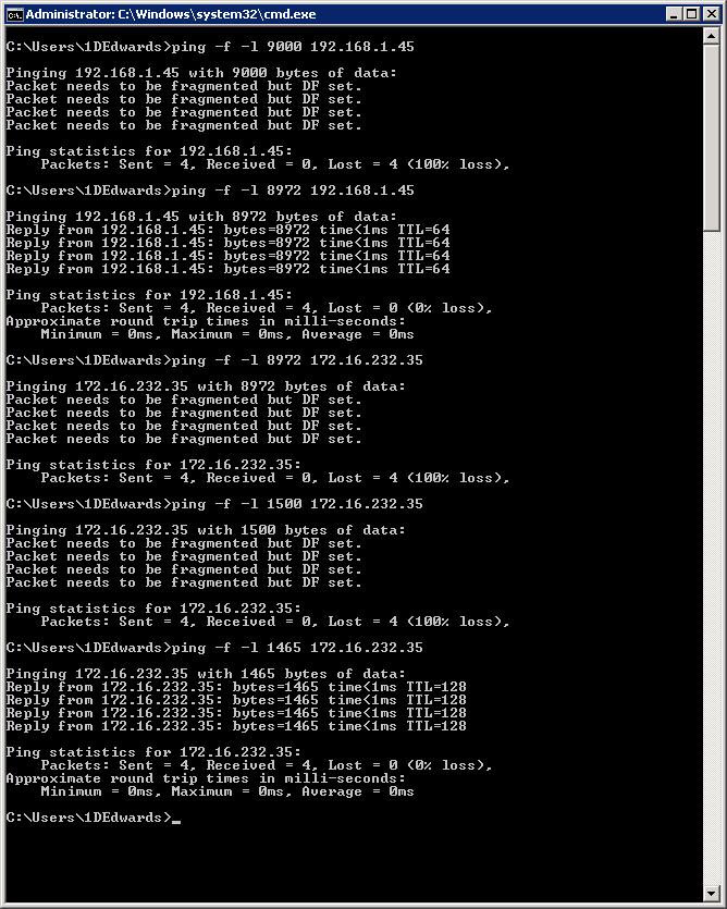 JumboFrames Test / Command Line   Dom\'s I.T. Humdrum